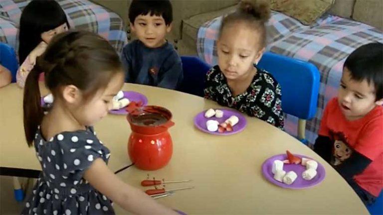 Children Enjoy National Chocolate Fondue Day