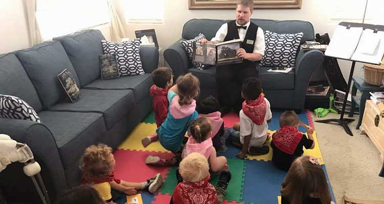 Train Engineer Kyle Terpening Visits Child Care