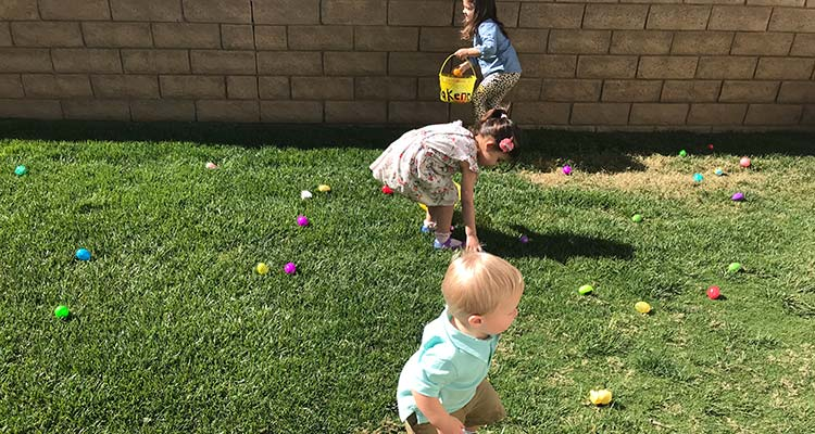 Children Hunting for Easter Eggs at Child Care in Valencia
