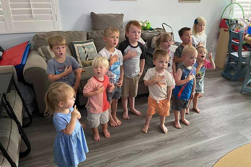 Children Saying the Pledge Allegiance