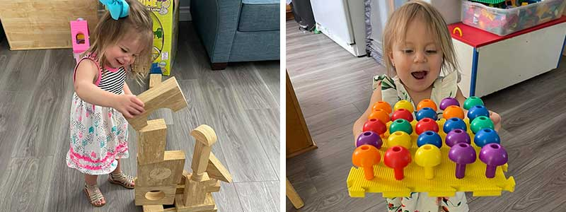 Girls playing with Blocks and Peg Board