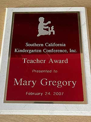 Kindergarten Conference Teacher Award for Mary Gregory
