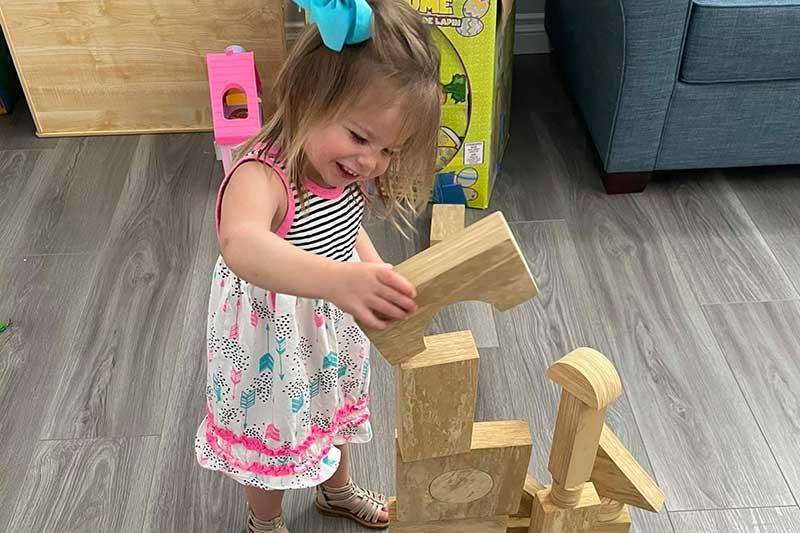 Little Girl is an Expert Block Builder