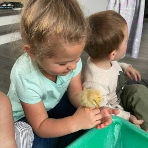 Raelyn With Baby chick
