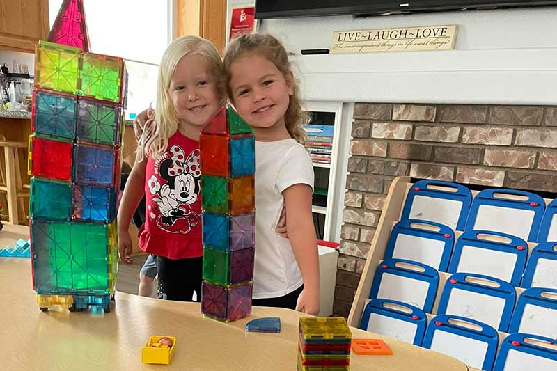Raelynn and Cailey Finished Magnatile Building