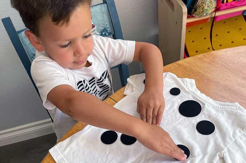 Zack Making Dalmation Spots on Shirt